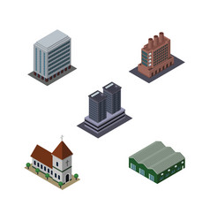 isometric building set of industry warehouse vector image