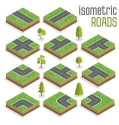 Isometric City Road Elements Set with Trees vector