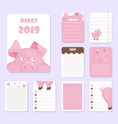 kids notebook page pig template cards piggy vector image