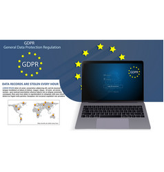 laptop and general data protection regulation vector image