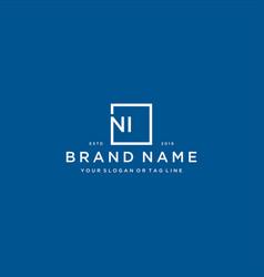 Letter ni with a square design vector