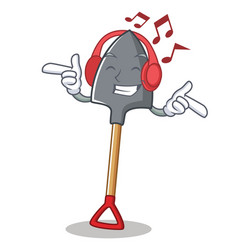Listening music shovel character cartoon style vector