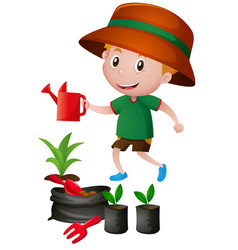Little boy watering the plants vector