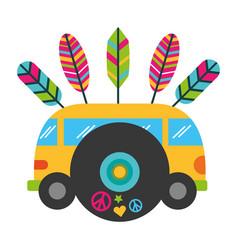 mini van music vinyl vintage hippie vector image