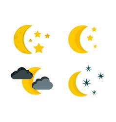 moon icon set flat style vector image