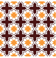 Moroccan tiles design seamless brown and orange vector
