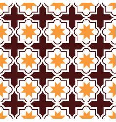 Moroccan tiles design seamless brown and orange vector