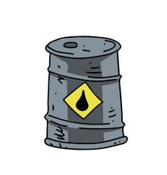 oil barrel cartoon hand drawn image vector image