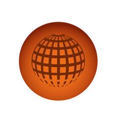 Orange circular frame sphere grid world vector