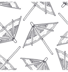outline seamless pattern with cocktail umbrellas vector image