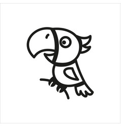 parrot icon in simple monochrome style vector image