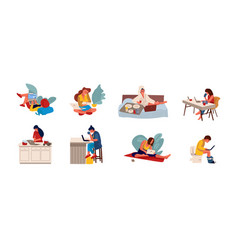 people surfing internet flat persons sitting on vector image