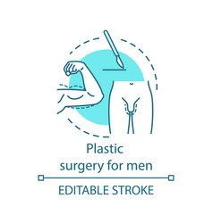 Plastic surgery for men concept icon vector