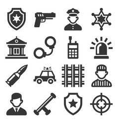 police icons set on white background vector image