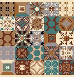 Portuguese azulejo floor tiles seamless vector