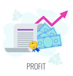 Profit infographics strategy pictogram flat vector