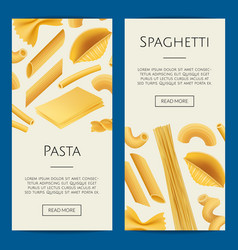 realistic pasta types web banner vector image