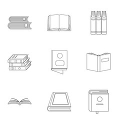 Reference book icons set outline style vector