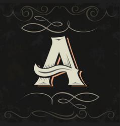 Retro style western letter design letter a vector