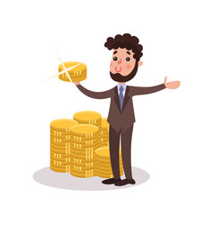 Rich wealthy millionaire character standing next vector