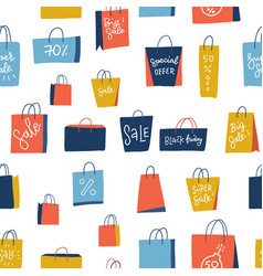 sale shopping bags seamless pattern on white vector image