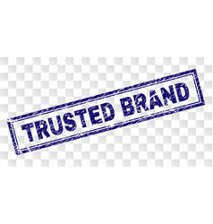 Scratched trusted brand rectangle stamp vector