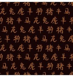 seamless background with signs of Chinese Zodiac vector image
