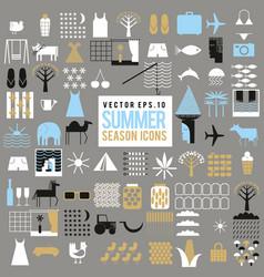 set of summer season icons big collection vector image