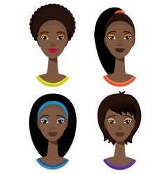 set with portrait of african woman vector image
