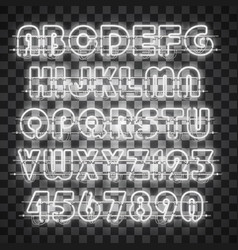 Shining and glowing white neon alphabet and digits vector