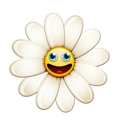 Smiling flower happy daisy vector image