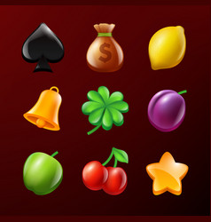 Symbols of slot machine set of realistic vector