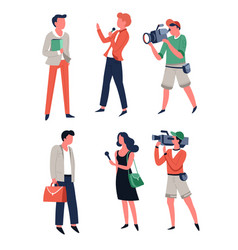 Tv media reporter with microphone interviewing vector
