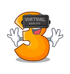Virtual reality cartoon number three on wooden vector