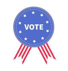 vote blue badge with striped ribbons award icon vector image