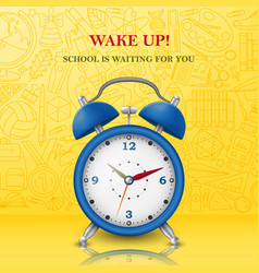 Wake up background with alarm clock vector