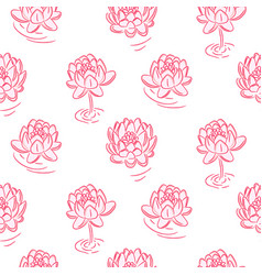 Water lily pink flowers seamless pattern vector