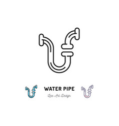 water pipe icon plumbing symbol thin line vector image