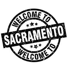 Welcome to sacramento black stamp vector