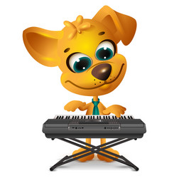 Yellow dog is playing synthesizer vector