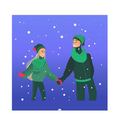 young loving couple walking vector image
