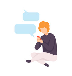 young man wearing casual clothes chatting online vector image