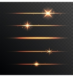 Flare Glowing Lights and Stars Set on Transparent vector image vector image