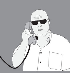image of a man talking on the phone vector image