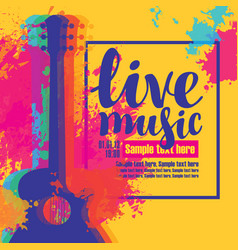 Live music poster with multicolor acoustic guitars vector
