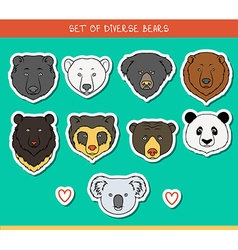 Set 9 muzzles stickers bears handmade linear style vector image