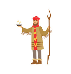 shaman character in national clothes performing vector image vector image