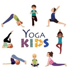 Yoga for kids Asanas poses set vector image