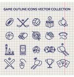 Ball pen game outline icons set vector image vector image