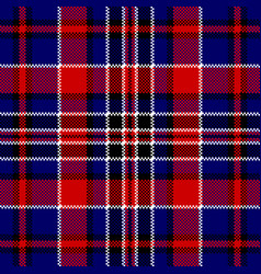 blue red check square pixel seamless pattern vector image